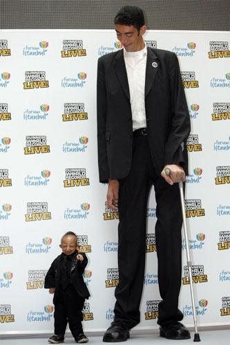 Высокий и самый маленький человек в